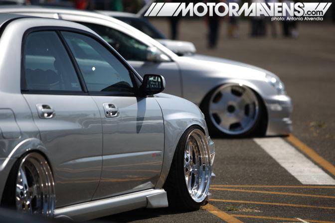 Subaru Impreza WRX STi stance slammed tire stretch Autocon Coverage Santa Anita Racetrack