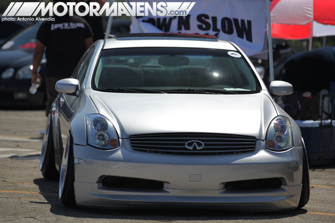 infiniti G35 stance slammed low n slow Autocon Coverage Santa Anita Racetrack