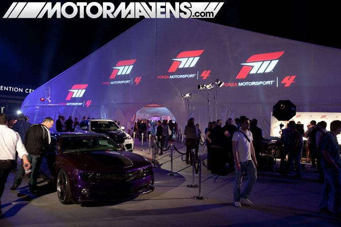 Forza Motorsport 4 Video Game Experience debut Turn 10 Studios Top Gear USA Spyker Lamborghini Camaro GTR Bentley Mercedes launch party LA Live E3 2011 ID Agency Samantha Totem