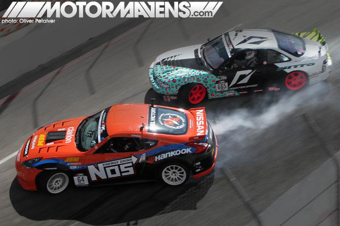Matt Powers S14 Chris Forsberg Nos Energy Nissan 370Z Formula Drift Streets of Long Beach 2011
