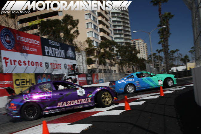 Justin Pawlak Kyle Mohan Mustang RX8 Formula Drift Streets of Long Beach 2011