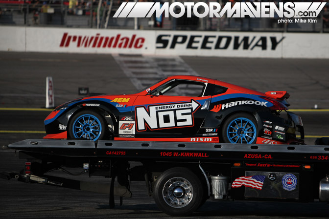 Chris Forsberg Nos Nissan 370Z crash tow truck flatbed Formula Drift Championship Finale Irwindale Speedway drifting