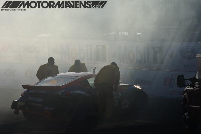 Chris Forsberg Nos Nissan 370Z crash Formula Drift Championship Finale Irwindale Speedway drifting