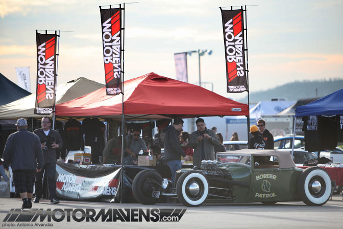 Border Patrol Cavaliers hot rod Irwindale Speedway MotorMavens booth Mass Appeal Car Show