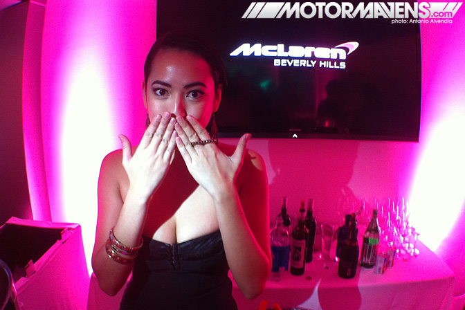 McLaren MP4-12C Beverly Hills Wilshire showroom beautiful bartenders jeni lee reyes jenileereyes