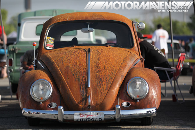 rusty rusted volkswagen vw beetle bug Mooneyes hot rod rat kustom Irwindale Speedway xmas party