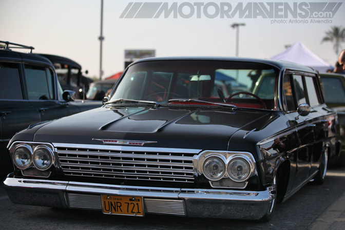 Impala Chevrolet station wagon Mooneyes hot rod rat kustom Irwindale Speedway xmas party