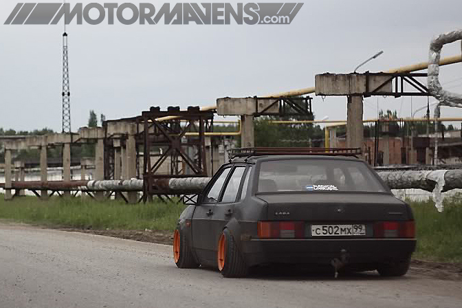 Lada Russia lowered slammed stretched tire dropped scraping