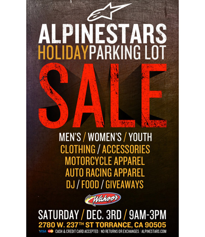 Alpinestars Holiday Parking Lot Sale Torrance CA