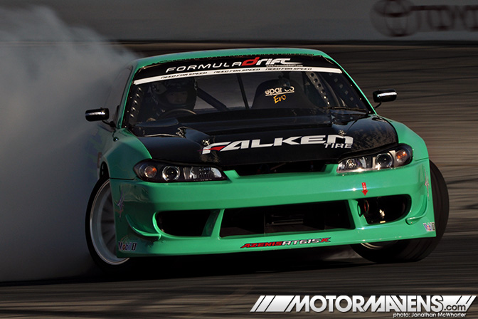 irwindale speedway drifting formula drift finale 2010 nissan s15 falken tire james deane