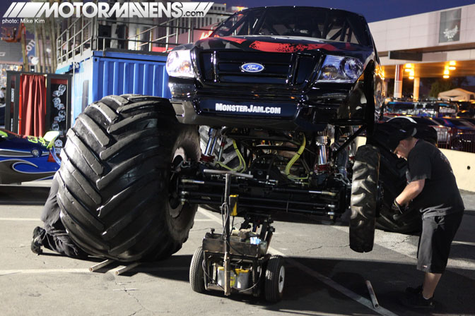 SEMA Show 2011 Las Vegas Convention Center Monster truck with small wheels Metal Mulisha Ford Racing