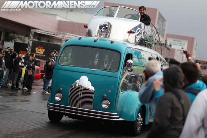 SEMA Show 2011 Las Vegas Convention Center bus with driver on top