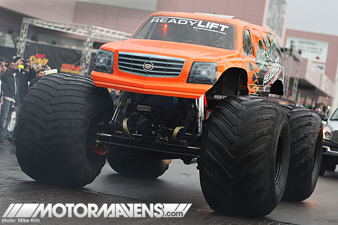 SEMA Show 2011 Las Vegas Convention Center Escalade monster truck readlift