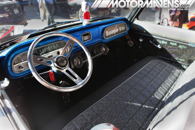1964 Chevy Corvair van SEMA 2011 Rocket Racing Wheels Bed Wood and Parts Kicker Subwoofer Air Ride Not Stock Photography