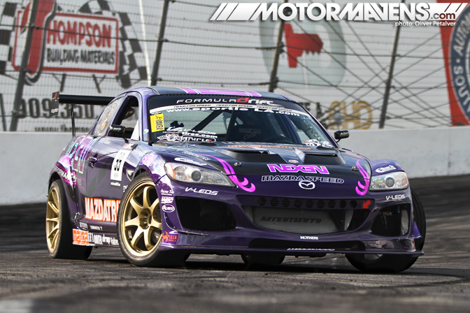 Formula DRIFT, Formula D, Drift, KMR, Kyle Mohan Racing, Motormavens, Oliver Petalver, Yoshi Shindo, Nexen Tires, Mazdatrix, Mazda USA, Mazdaspeed,  Exedy Clutches, Eibach Springs, Mishimoto, Turbonetics, AIT Racing, XXR, Haltech, Idemitsu, Gatorz Eyewear, TCSportline, F&amp;L Racing Fuel, Baker, Dstroyr, Drop Engineering, EF1 Motorsports, Kognition, Antonio Alvendia