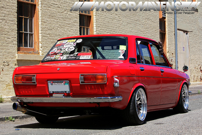 Datsun 510, John Paul JP Dagsaan, Japanese Classic Car Show (JCCS), 1970 Datsun 510 sedan, Five-Ten, Solex, Honda Milano, CCW Classics, Wilwood, 280ZX, Bluebird Grill, Supersonic Badge, Motormavens, SR20DET, Nickel-Dime, KA24DE, Exedy, Fidanza, Agency Power, Troy Ermish Racing, Subaru, HKS, Samberg, Apex-I N1, Bride, Bride Histrix, Bride Zeta, Crow, Nardi, NRG, Greddy, Pioneer, Pioneer AVIC-N1, Boston Acoustic, Hecho en Mexico, John Morton, Trans-Am Championship, C Production National Championship, B&amp;M short shifter, DRG Fabrications, Mooneyes, Tiki, Qa1, Tokico Illumina, MR-2, Racetep, Maddat steering box, Oliver Petalver