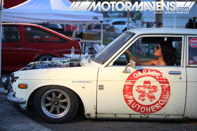 Hot girl in Datsun 510