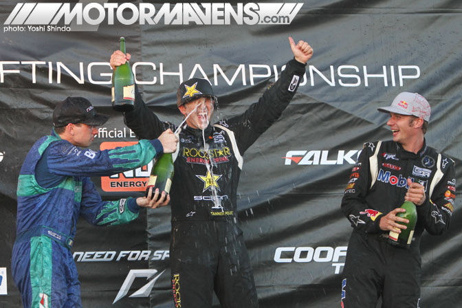 Formula D Round 4 Seattle Tanner Foust Rockstar podium CSIYM money shot Yoshi Shindo