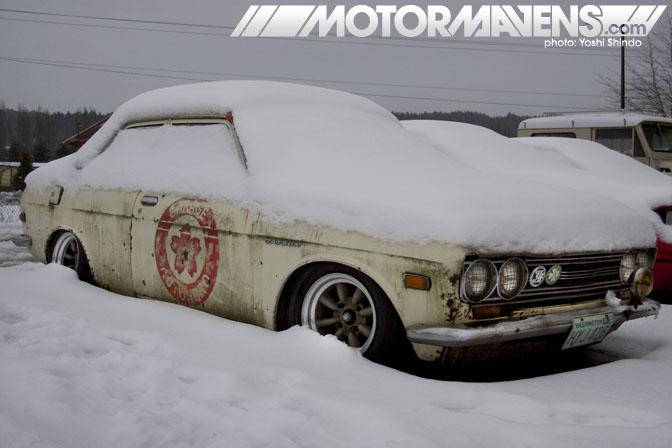 Garage Autohero Datsun 510 turbo turbocharged Ray Stonehocker Watanabe Yoshi Shindo rusty snow Nissan Bluebird