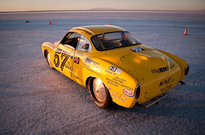 Karman Ghia, watercooled VW, Bonneville Salt Flats, land speed racing